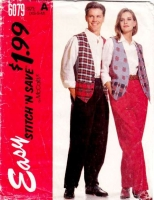 McCalls 6079 Unisex Lined Vest & Pants Sewing Pattern XS-M B30-38 Uncut