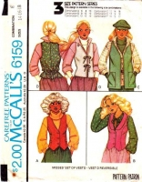 McCalls 6159 70s Fitted Steampunk Vests Sewing Pattern 14-18 B36-40 Uncut