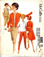 McCalls 6202 60s Full Slim Skirt, Shirt, Pants Sewing Pattern 9 B30 Used