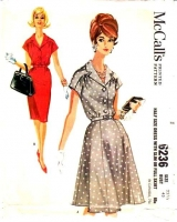 McCalls 6236 1960s Shirtwaist Dress with Slim or Full Skirt Sewing Pattern Plus Size 22.5 B43 Used