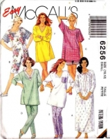 McCalls 6256 Sleep Shirt, Nightgown, Pajamas, PJs, Sewing Pattern S B32-34 Uncut