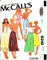 McCalls 6310 70s Camisole Tops, Petticoat Skirt, Panties, Half Slip Sewing Pattern Large B40-42 Uncut