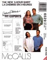 McCalls 6529 3-Hour Unisex Button Front Shirt  Sewing Pattern Medium 34-36 Uncut