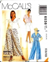 McCalls 6538 Sailor Style Top, Culottes, Split Skirt, Shorts Sewing Pattern 10-14 B32-36 Uncut