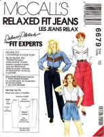 McCalls 6679 Relaxed-Fit Jeans, Shorts, & Culottes Sewing Pattern 10 Uncut