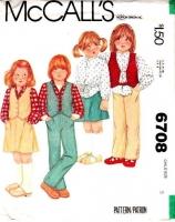 McCalls 6708 Children's Vest, Shirt, Skirt, Pants Sewing Pattern 6 Uncut