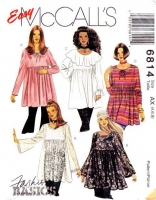 McCalls 6814 Empire Waist, Ruffled Smock Top, Blouse Sewing Pattern 4-8 B29-31 Uncut