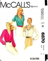 McCalls 6870 Shirred, Ruffled Blouse, Shirt Sewing Pattern 16 B38 Uncut