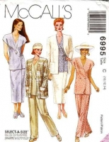 McCalls 6995 Hip Length Jacket, Tunic Top, Skirt & Pants Sewing Pattern 10-14 B32-36 Uncut