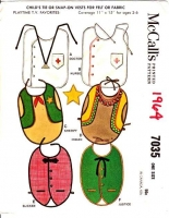 McCalls 7035 60s Child's Tie or Snap-On Vests Sewing Pattern Ages 2-6 Uncut