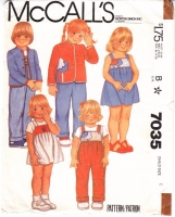 McCalls 7035 Children's Jacket, Jumper, Sundress, Overalls Sewing Pattern 6 Uncut