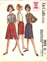 McCalls 7073 60s Skort, Shorts with Overskirt & Blouse Sewing Pattern 18 B38 Used