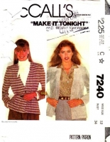McCalls 7240 80s Cardigan Jacket Sewing Pattern 12 B34 Used
