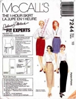 McCalls 7244 1-Hour Straight Skirt Various Lengths Sewing Pattern 10 Waist 25 Uncut