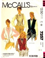 McCalls 7257 80s Steampunk Buttoned Vest Sewing Pattern 14 B36 Used