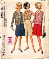 McCalls 7299 60s Boxy Jacket, Shirt, Top, Inverted Pleat Skirt Sewing Pattern Junior 13 B33 Used