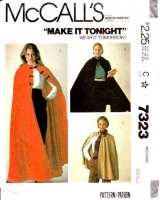 McCalls 7323 Cape, Cloak, LOTR, Ren Faire Costume Sewing Pattern Small B32-34 Used