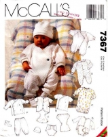 McCalls 7367 Infant Layette, Gown, Romper, Playsuit Sewing Pattern P-M Uncut