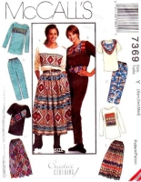 McCalls 7369 Tops, Pull-on Pants, Broomstick Skirt Sewing Pattern XS-M B30-36 Uncut