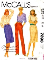 McCalls 7393 Front Pleated Skirt & Pants Sewing Pattern 12 Waist 26 Used