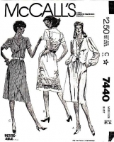 McCalls 7440 80s Shirtwaist Dress & Vest Sewing Pattern 14 B36 Uncut