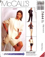 McCalls 7444 Unlined Jacket, Top, Pants & Skirt Sewing Pattern Plus Size 18-22 B40-44 Uncut
