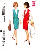 McCalls 7450 60s Petite Jumper Dress & Blouse Sewing Pattern 7-9 B32 Used
