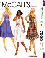 McCalls 7500 Sundress, Ruffled, Scoop Neck Dress Sewing Pattern 12 B34 Used