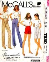 McCalls 7530 Trousers, Pants, Bermuda Shorts Sewing Pattern 18 Waist 32 Uncut