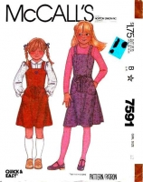 McCalls 7591 Girls' Jumper Dress Sewing Pattern 12 B30 Uncut