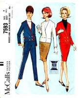 McCalls 7593 60s Pegged Pants, Boxy Blazer Suit Sewing Pattern 9 B30 Uncut