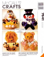 McCalls 7641 Gift Treat Baskets Bear, Mother Hen, Snowman, Lion, Sewing Pattern Uncut