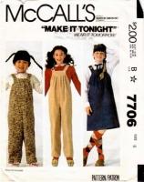 McCalls 7706 Children's Jumper Dress, Overalls & Jumpsuit Sewing Pattern 6 Uncut