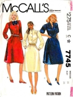 McCalls 7745 80s Shirtwaist Dress Sewing Pattern 16 B38 Used