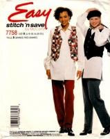 McCalls 7758 Vest, Button Front Shirt, & Pull-on Pants Sewing Pattern 16-22 B40-44 Uncut