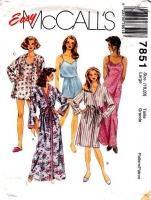 McCalls 7851 Robe, Nightgown, PJs, Pajamas Sewing Pattern 18-20 B40-42 Uncut