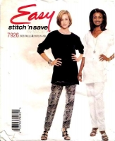 McCalls 7926 Tunic Top & Pull-on Pants Sewing Pattern 10-16 B32-38 Uncut