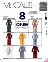 McCalls 7948 Unisex Short or Long Robe Bathrobe Pattern XL-XXL Uncut