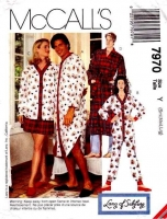 McCalls 7970 Sleep Shirt, Nightgown, Pajamas, PJs, Sewing Pattern S-L B31-40 Uncut