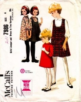 McCalls 7986 Girls' Jumper Dress Sewing Pattern 6 Uncut