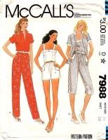 McCalls 7988 Camisole Tank Top, Shorts, Capri Pants Sewing Pattern 14 B36 Uncut