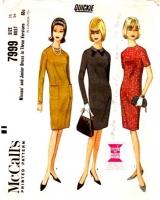 McCalls 7999 60s Slim Princess Seam Dress Sewing Pattern 16 B36 Used