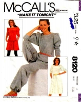 McCalls 8120 Puff Sleeve Top, Flared Skirt, Harem Pants Sewing Pattern 8 B31 Used