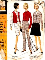 McCalls 8130 60s Boxy Jacket, Vest, Blouse, Dress, Skirt, and Pants Sewing Pattern 14 B34 Used