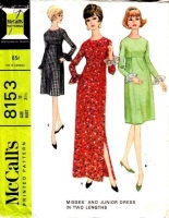 McCalls 8153 60s Empire Waist Evening Cocktail Dress Sewing Pattern 11  B31 Used