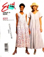 McCalls 8201 Empire Waist Pullover Dress, Jumpsuit Sewing Pattern 4-14 B30-36 Uncut
