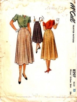 McCalls 8297 8-Gore Flared Skirt Sewing Pattern 50s Waist 23 Used