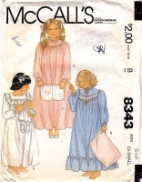 McCalls 8343 Girls' Nightgown, Night Gown Sewing Pattern X-Small 2-4 Used