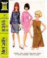 McCalls 8355 60s Sleeveless Two-Piece Dress Sewing Pattern 12 B34 Used