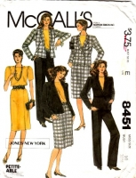 McCalls 8451 Hip Length Jacket, Top, Straight Skirt & Pants Suit Sewing Pattern 10 B32 Uncut